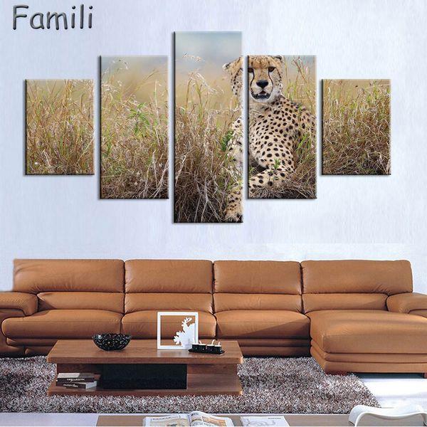 Satın Al 5 Panel Hayvanların Modern Duvar Resimleri çita Leopar Ev