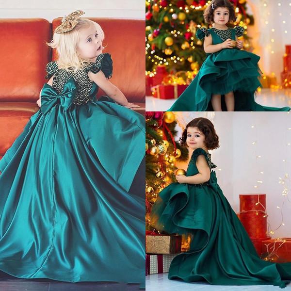 Nuovo Bella Alto Basso scuro verde militare ragazze Pageant Abiti gioiello collo Tiered Satin Bow Indietro gonfi per bambini dalle ragazze di fiore Vestito di compleanno abiti