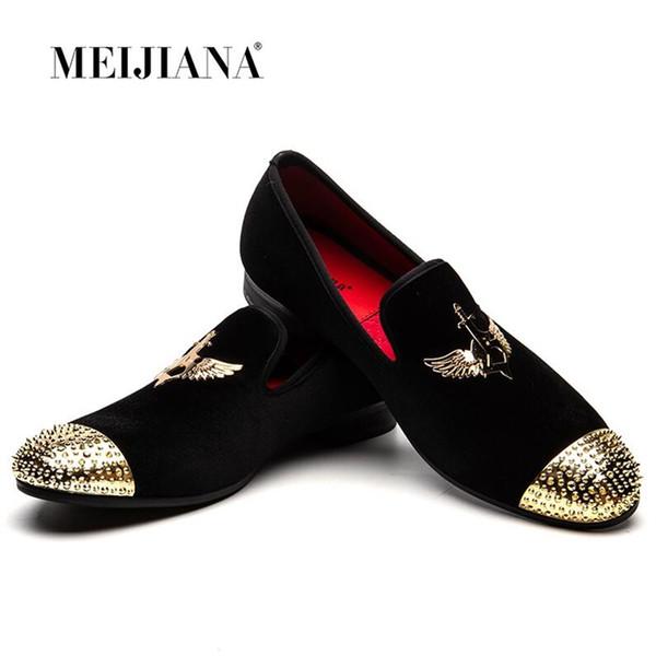MEIJIANA Fashion Velvet Loafers Herren Slip On Freizeitschuhe mit Nieten Breathable Slippers Herren Spikes Party und Prom Schuhe