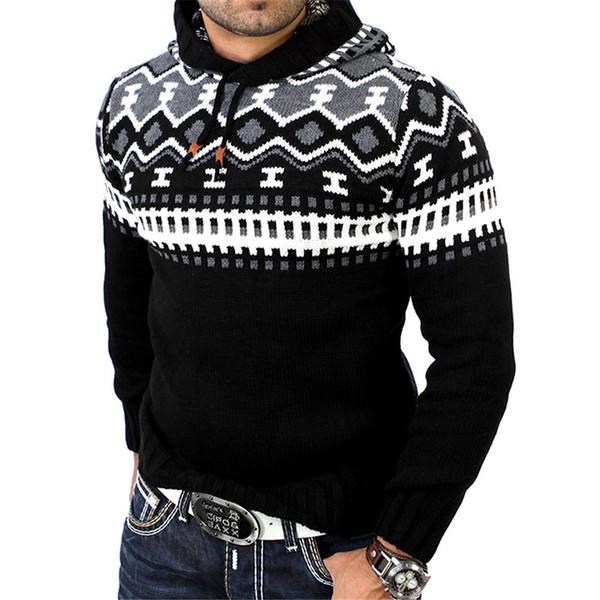 Cool estampado de flores suéter de los hombres con gorra Ropa de moda Nueva llegada elegante suéteres de manga larga Top Fitness Punk Rock suéter