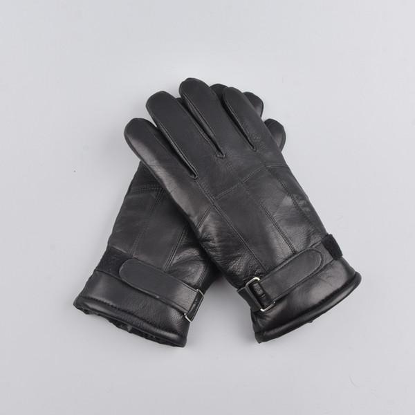 uomo inverno Outdoor caldo pelliccia ispessimento patchwork termicoUomini in pelle di pecora guanti in vera pelle guanto
