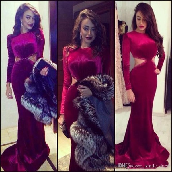 long sleeve prom dresses wine red colored burgundy mermaid evening dress gown formal party dress