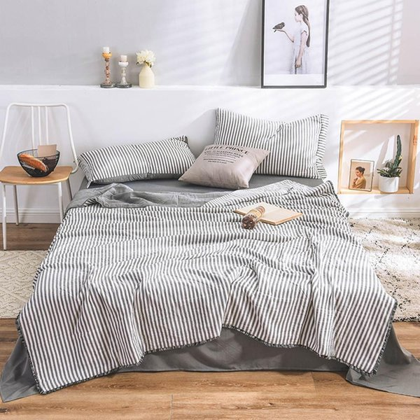 2019 Grey White Stripes INS 4pcs Thin Summer Comforter Bedding Sets Wash Polyester Bedlinens Flat sheet Pillowcases