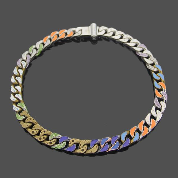 Quatro Flor Folha Colar colorida do esmalte Ligações Chain Patches colar para fora congelada Chains Jóias Mulheres Acessórios de Moda Colar