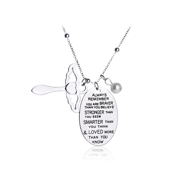 Necklace angel wishes Necklaces daughter always remember you are braver smarter than you believe think cheer up beads Letter necklaces