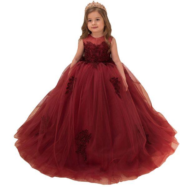 Burgundy Ball Gown Tulle Flower Girls Dresses Jewel Neck Sleeveless Lace Appliqued Corset Back Kids Formal Wear For Weddings