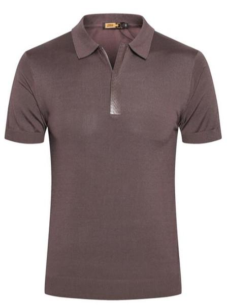 ZILLI été à manches courtes hommes peau de serpent T-shirt 2019 nouvelle fermeture à glissière de mode en soie décontractée respirant la marée britannique