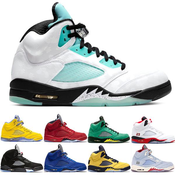 2019-2020 Shoes Green Island 5 pallacanestro Motorsports Bred Ali 5s Mens Trainers Olimpico Metallic Gold Uomini Sport Sneakers Taglia 40-47