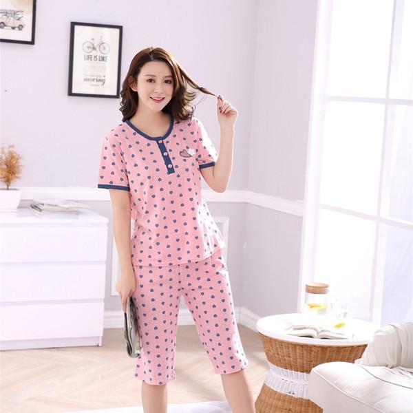 Plus Size Girls Knee Length Cotton Pajama Set For Women 2018 Summer Short Sleeve Pyjama Pijama Loungewear Homewear Home Clothing C19040901