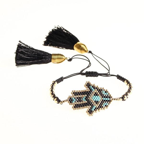 Go2boho Bracelet mal des yeux turc perles Miyuki Bracelet Fatima Hamsa main Moda Mujer Pulseras 2019 Tassel Bijoux Femmes d'été