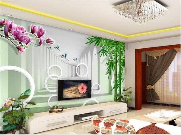 custom 3d photo wallpaper mural living room orchid bamboo scenery photo painting sofa TV background wall non-woven wall sticker