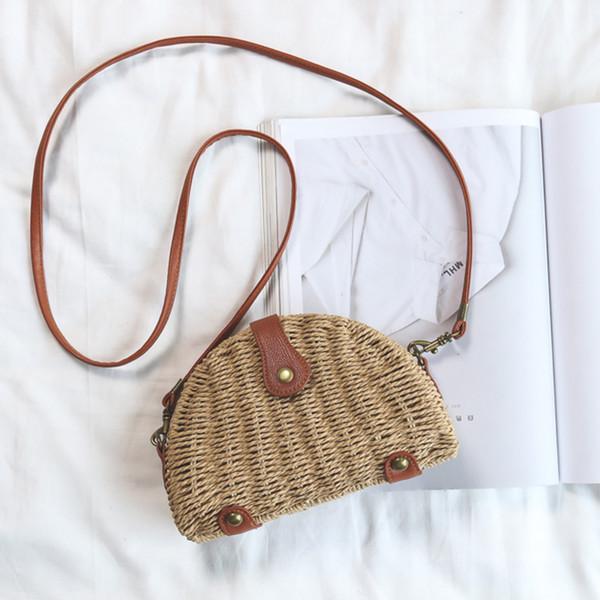 Bolsos redondos de paja para las mujeres bolsa de hombro de playa de verano  de ratán 7a10e9fd4982