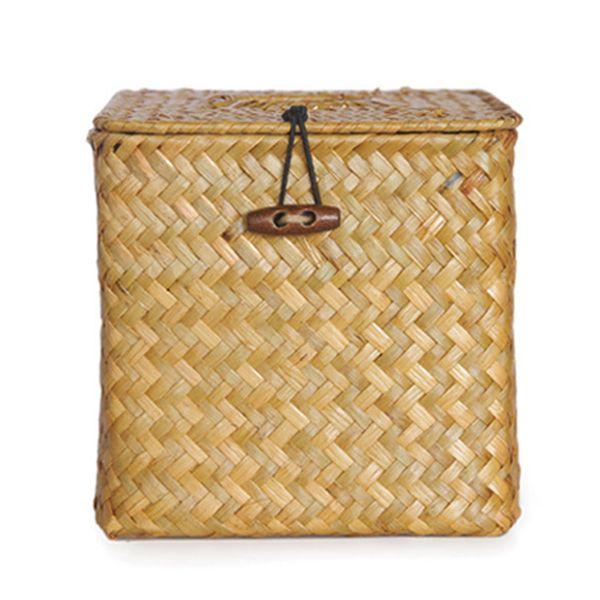 Storage Case Car Table Decoration Pumping Paper Container Desktop Tissue Box Seaweed Woven Napkin Holder Handmade Home Organizer