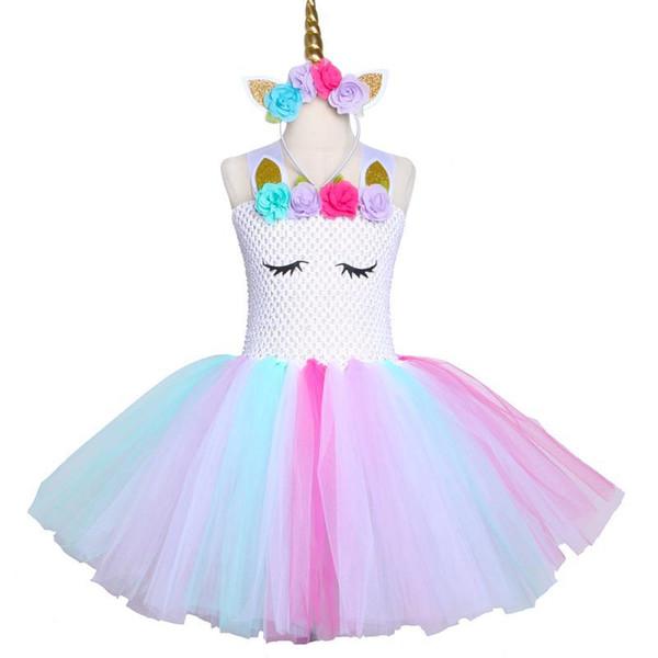 New European and American Unicorn Children's Dresses Girls' Festival Costumes Children's Princess Skirts Netted Fluffy Girls Dresses