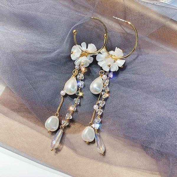 Bohemian Flower Crystal Pearl Long Drop Earrings For Women 2019 New Handmade White Party Hanging Earrings Jewelry Wholesale