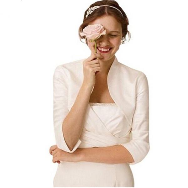 Hot selling customization half sleeves Satin Wedding Shrug Wedding bolero jacket lined Coatcommissioned length Wedding Accessories