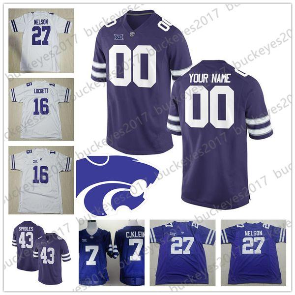 831f926bb Custom Kansas State Wildcats Football purple White Any Name Number Jerseys  #5 Alex Delton 3