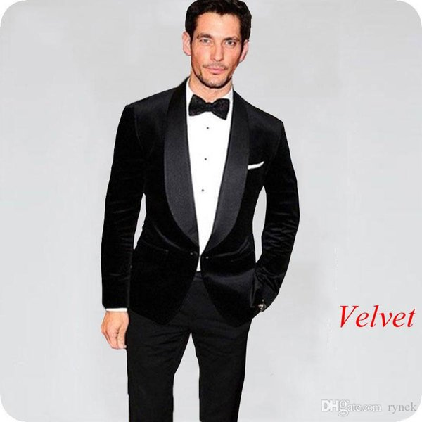 Black Velvet Groom Tuxedos Men Suits For Wedding Smoking Jacket Shawl Lapel  Groomsmen Suit Blazer Black Pants Slim Fit Costume Homme Formal Suit Men