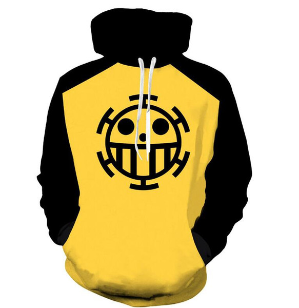 Anime One Piece 3D Felpe con cappuccio Felpe Trafalgar Law Cosplay Pirates Of Heart Pullover sottile Felpe Tops Capispalla Cappotto Outfit
