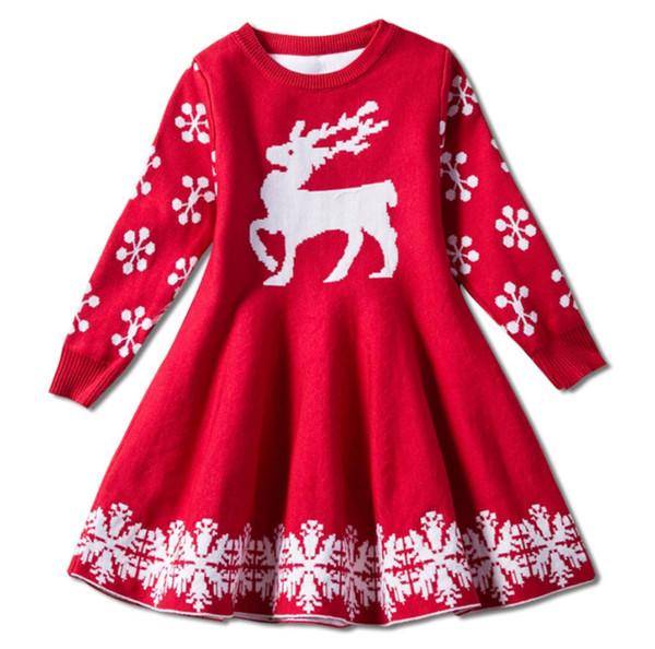 323b18ae Red color baby girls chritmas skirts deer knitting children girl holidays  warm dress kids party skirts