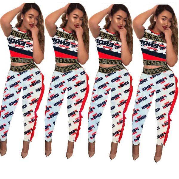 Tuta estiva da donna FF Lettera stampata a maniche corte T-shirt Crop Top + pantaloni 2 pezzi Set moda da jogging Set Abiti S-XL vendita calda C5803