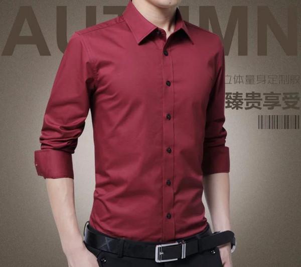 2019 nova camisa vermelha camisa preta confortável de alta qualidade dos homens dos homens Camisas de vestido de mangas compridas Magro shirt Juventude Casual Professional Tooling