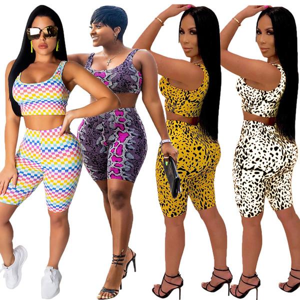 top popular Women 2 piece set tracksuit sportswear scoop neck sleeveless crop top ts-shirt print bodycon leggings shorts summer clothing plus size 287 2019
