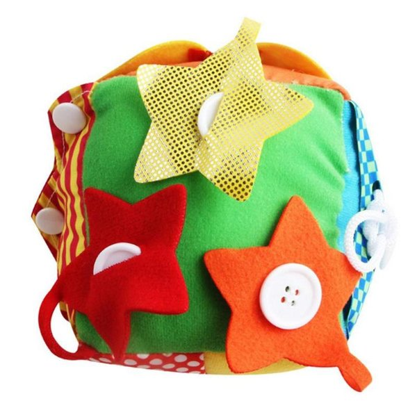 Colorful Square Ball Plush Toy Baby Bell Square Ball Plush Toy Button Zipper Shoelace Practice Training Learning Educational