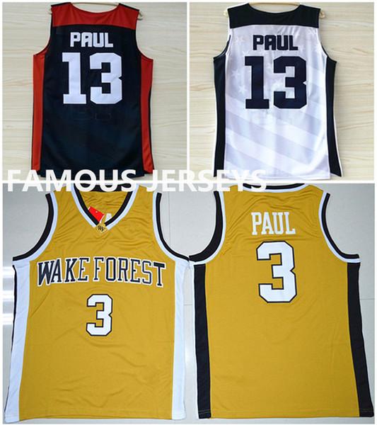 Todo cosido Wake Forest Demon # 3 College basketball Jerseys Diáconos Paul juego uniforme chris usa dream team # 13 desgaste