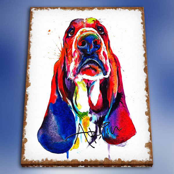 High Quality Handpainted & HD Print Modern Abstract Animal Art Oil Painting Basset Hound On Canvas Wall Art Home Deco a03