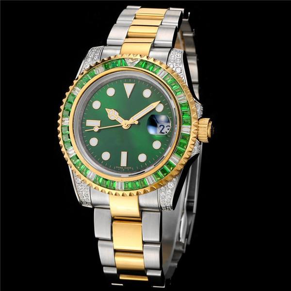 Renkli elmas dönen daire Lüks İzle sabmariner otomatik hareketi Safir Ayna erkek İzle Tasarımcı kol montre de luxe