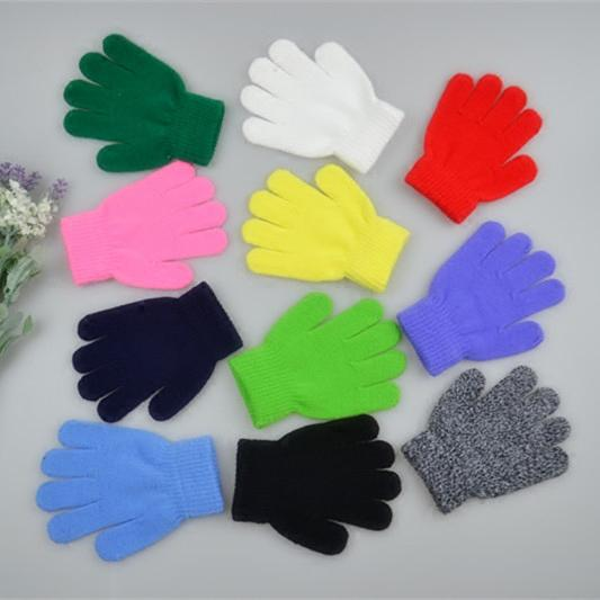 Winter Cute Boys Girls Gloves Solid Color Finger Point Stretch Knit Mittens kids gloves knitting warm glove children boys Girls Mittens