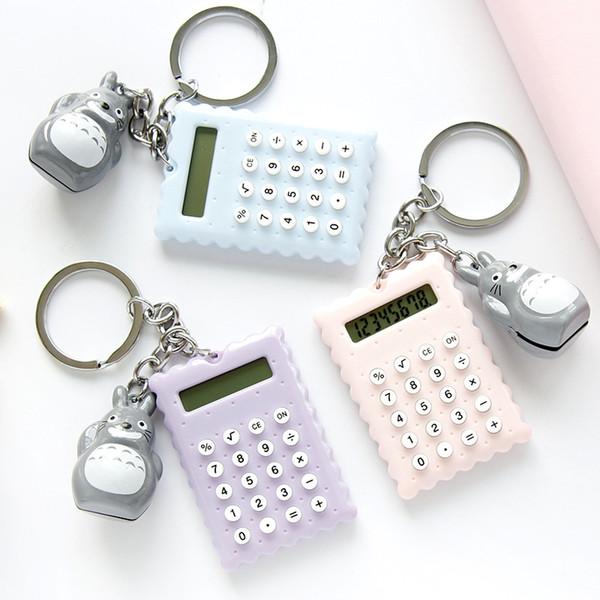 Mini Calculator Keychain Totoro Charm Portable Calculator Key Ring Key Chain Bag Hangs Fashion Jewelry Drop SHip