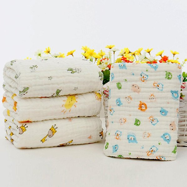 1Pc 105cm Blanket Multi Layer Cotton Gauze Baby Muslin Towel Stroller Swaddle Blanket