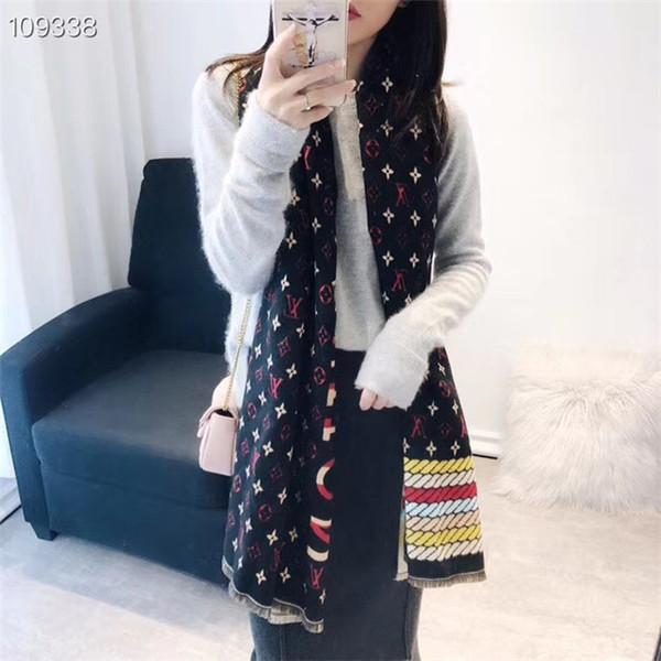 Wholesale- Designer Women High quality Autumn winter cotton cashmere scarf Soft Scarf Luxury Long Fashion colour printing Shawl