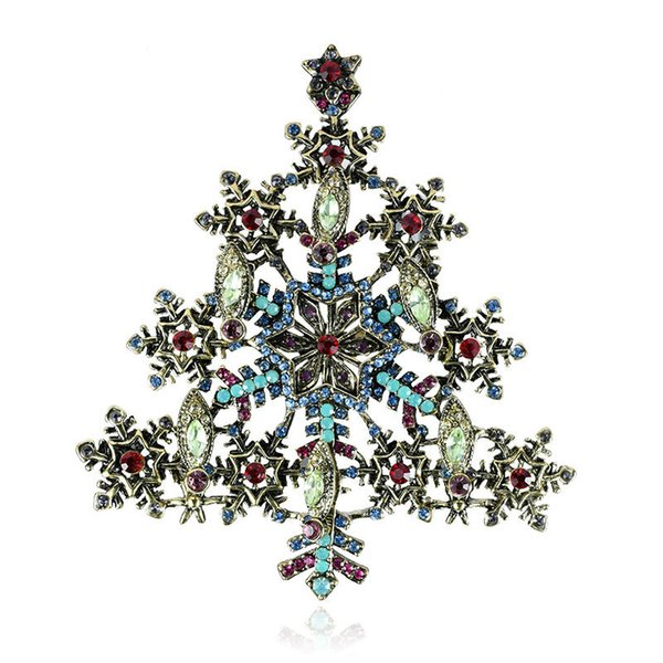 rhinestone retro christmas snowflake brooch pin fashion high-grade rhinestone christmas tree brooch jewelry holiday gift