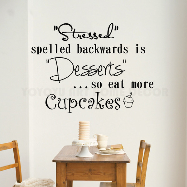 Cupcakes Window Decal Stressed Is Desserts Wall Sticker Kitchen Bakery Decoraiton Cakes Quote Wall Window Mural Vinyl Art