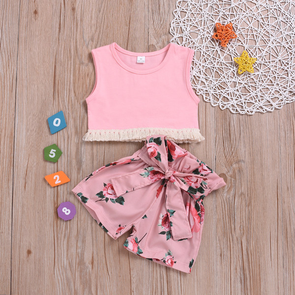 Retail girls boutique outfits summer cotton sleeveless tassel vest+flower shorts girls suit two piece crop top outfits baby tracksuit suits