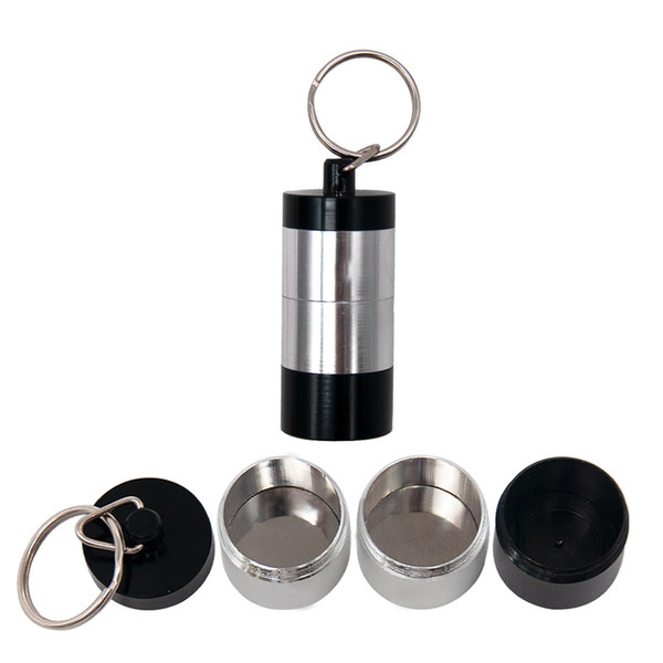 Portable Dab Wax Tobacco Container 4 Layers Medicine Box Metal Pill Cases Jars Storage Holder for Dry Herb Herbal Vaporizer Keychain