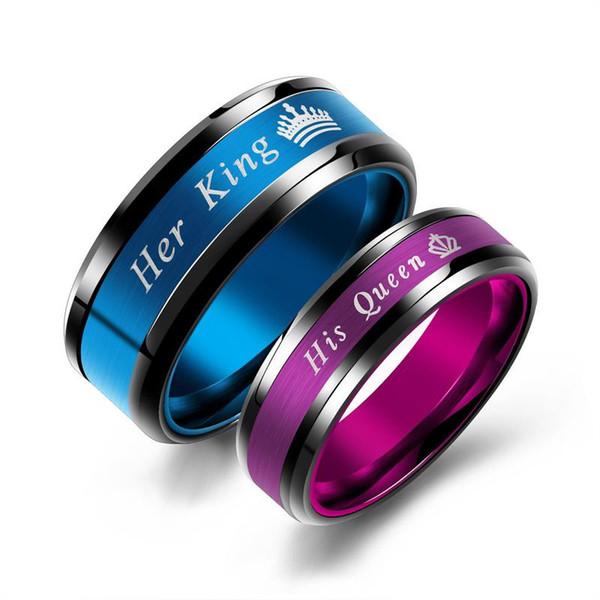 Son roi et sa reine couple bagues de mode en acier inoxydable couronne bleu doigt violet bagues pour les femmes hommes bijoux cadeau de Saint Valentin