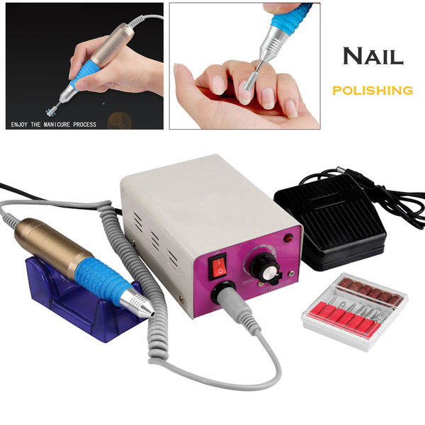 MM-25000 12W Electric Nail Drill Machine Foot Pedal Control Handpiece Nail Drill Acrylic Art File 6 Bits Manicure Separator #S