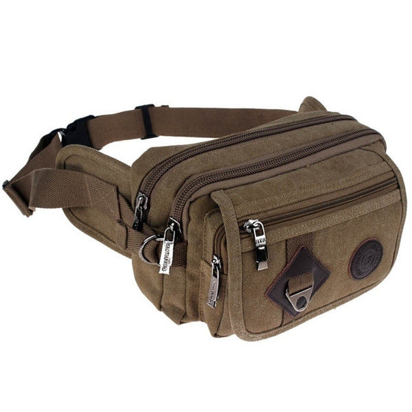 High Quality 2018 Fashion Casual Canvas Messenger Bags Waist Packs Purse Men Portable Vintage Men Waist Bags Travel Belt Wallets J190521