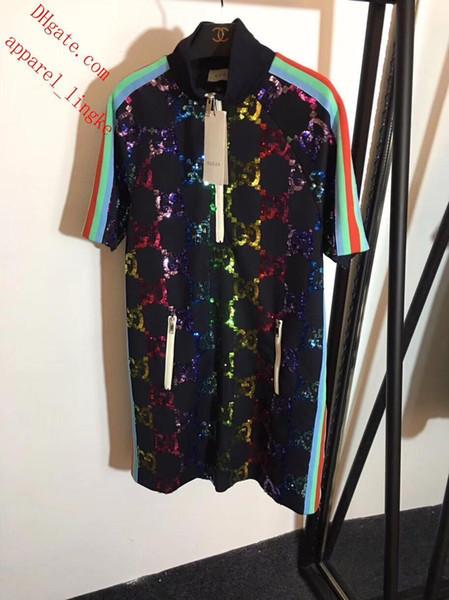 2019 vestidos de verano letra G bordado de lentejuelas arco iris correas hombro manga corta vestido de moda vestidos de alta calidad ropa de mujer AB-7