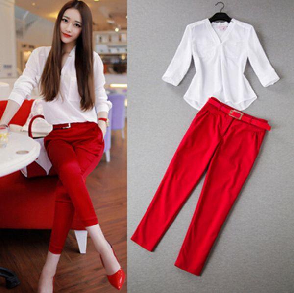 Ensembles femmes d'été deux pièces OL Fresh Office Wear blanc trois quarts doux chemise à col en v + pantalon à la cheville femmes ensembles