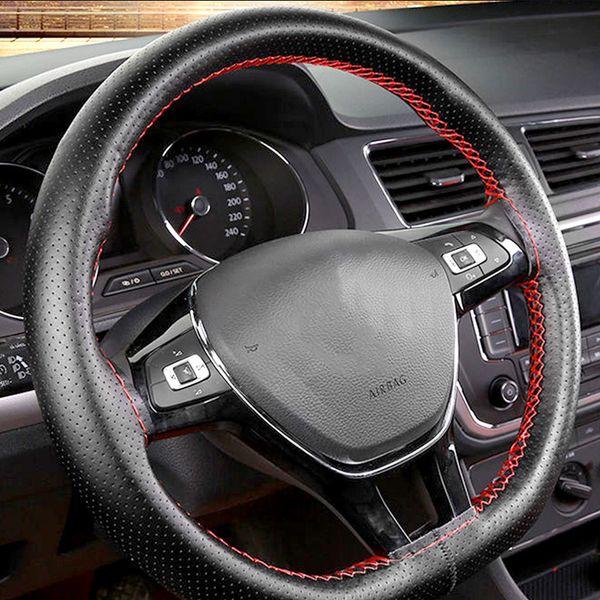 38cm Car Steering Wheel Cover Black Artificial Leather for E90 X1 X3 X5 X6 E36 E39 E46 E30 E60 F30 320i 325i 330i E87 120i