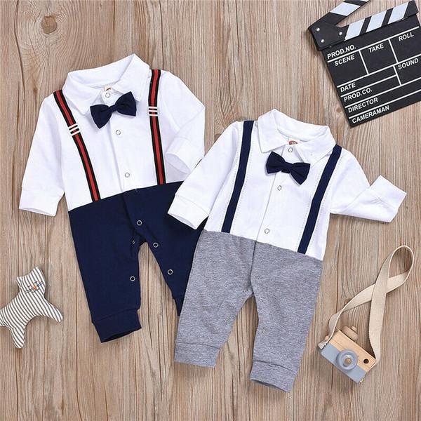 Newborn Kids Baby Boys Infant Outfits Jumpsuit Romper Bodysuit Gentleman Clothes