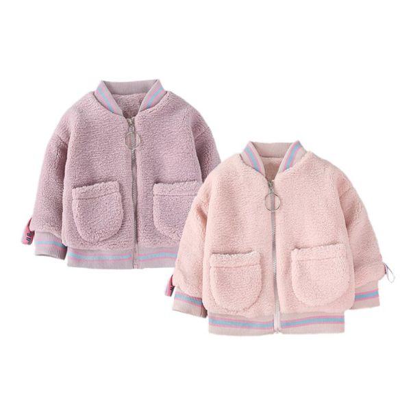 Baseball Jacket Winter Warm Lamb Hair Fashion Baby Girl Jacket 2019 Spring Baby Girl Clothes Warm Thick coat
