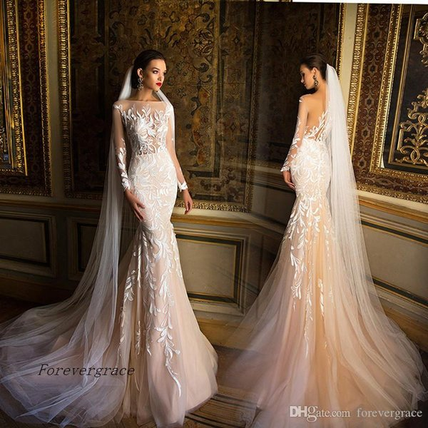 2019 High quality Boat Neck Sheer Long Sleeves Mermaid Wedding Dress Romantic Appliques Lace Bridal Gown Plus Size Custom Made