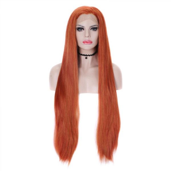 Top Quality Long Straight Hair Glueless Synthetic Lace Front Wig Orange Red Color Wigs For Women Heat Resistant Fiber Natural Hair Cosplay