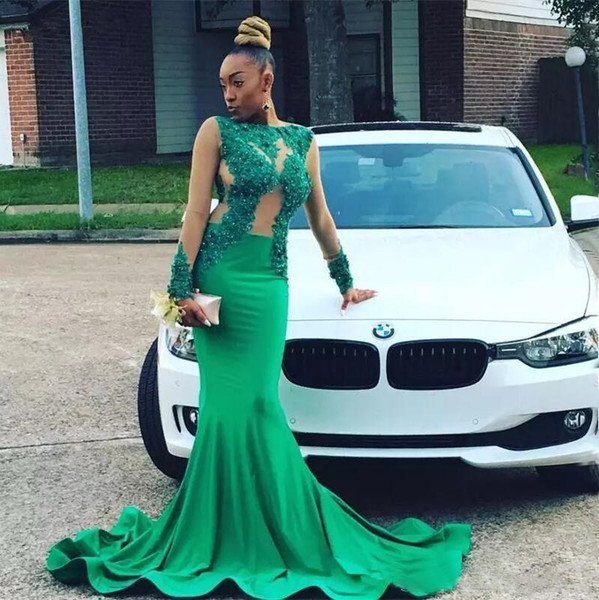 Green Mermaid Prom Dresses Long Sleeves Lace Appliques Beaded Sheer Formal Evening Gowns Black Girls Sexy Trumpet Party Wear